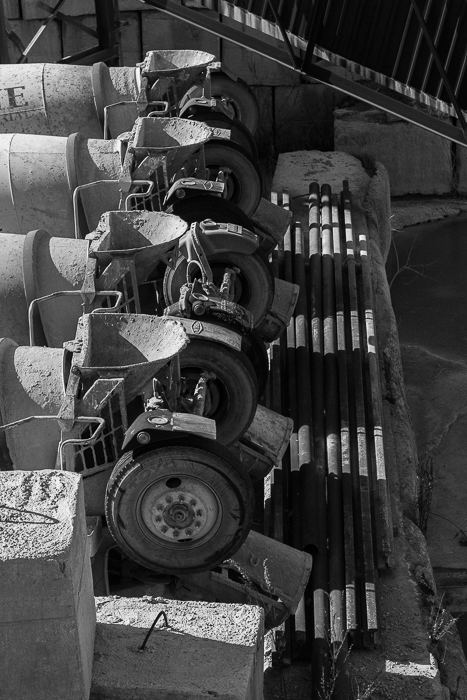 Prairie Materials cement mixers waiting for orders. River West, Chicago