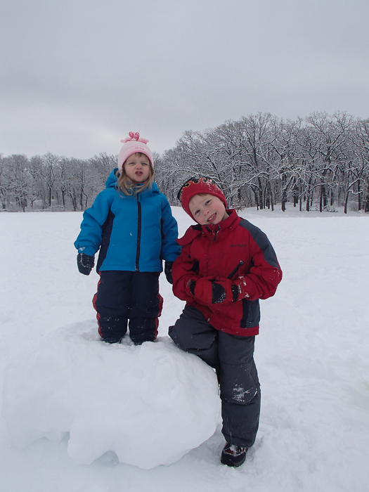Lily and Nate at Veteran's Acres after some sledding.