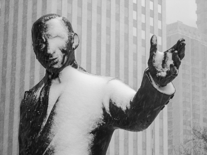 """Statue of Irv """"Kup"""" Kupcinet in the March 5th snowstorm."""