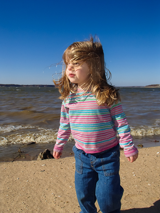 Lily at the shores of a very windy Red Rock Lake near Pella, Iowa.