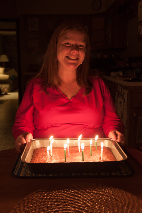 Heather's birthday, earlier in January, with a pan of brownies instead of cake.