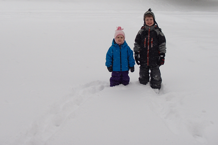 Lily and Nate in the 2014 New Years Day snowstorm.