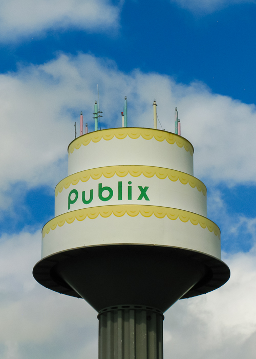 Publix grocery store distribution center near Plant City, FL has a water tower shaped like a cake