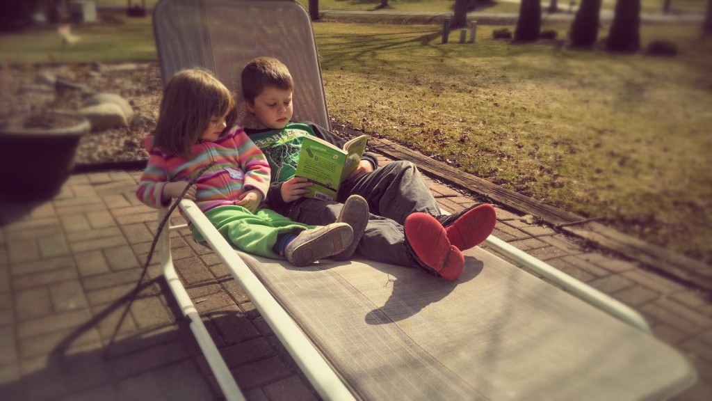 Nate and Lily hanging out in the backyard during one of the warmest days we've had in months.