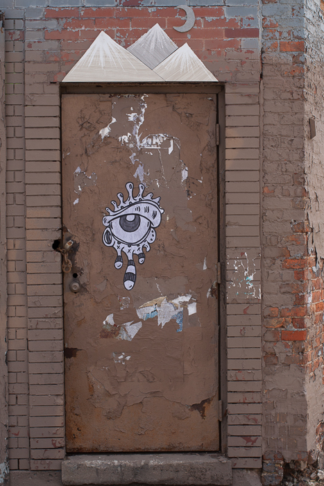 Street Art: eye, mountains and moon, River West Chicago