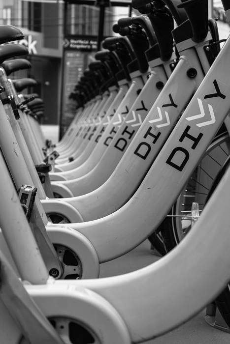 Divvy bikes parked at Sheffield and Kingsbury in Chicago's River North neighborhood.