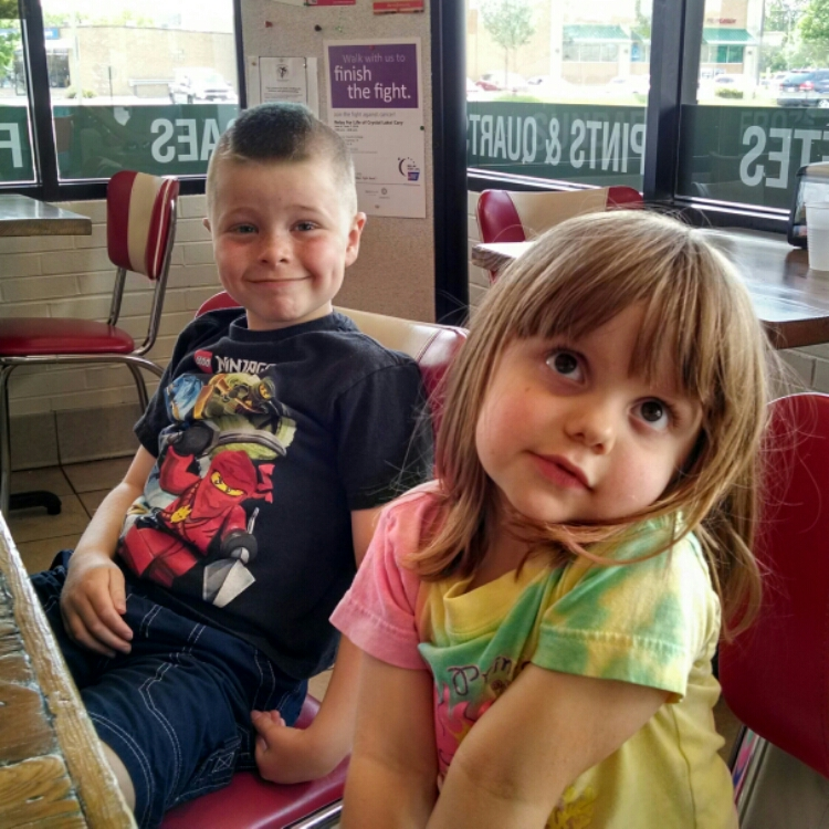 Nate and Lily waiting for frozen custard at Julie Ann's in Crystal Lake.