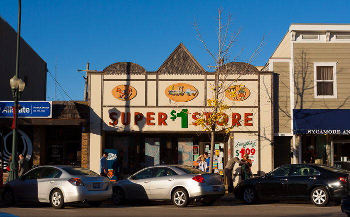 Super $1 Store, with shadows. Sycamore, IL