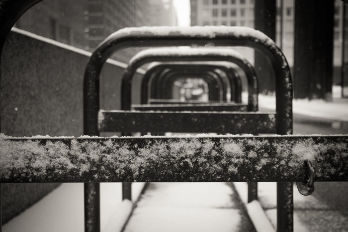 Daley Plaza bike rack in the snow.  Loop, Chicago