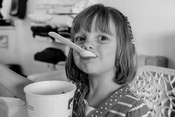 Lily at a Yumz frozen yogurt.