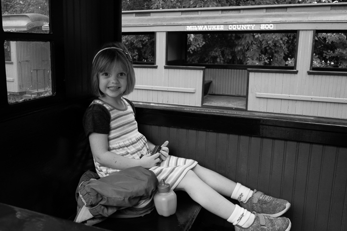 Lily on the train at the Milwaukee County Zoo