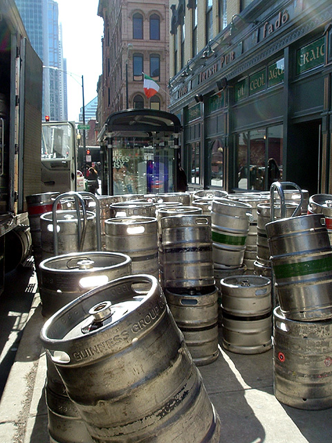 The kegs were glowing as if they were illiuminated from heaven.