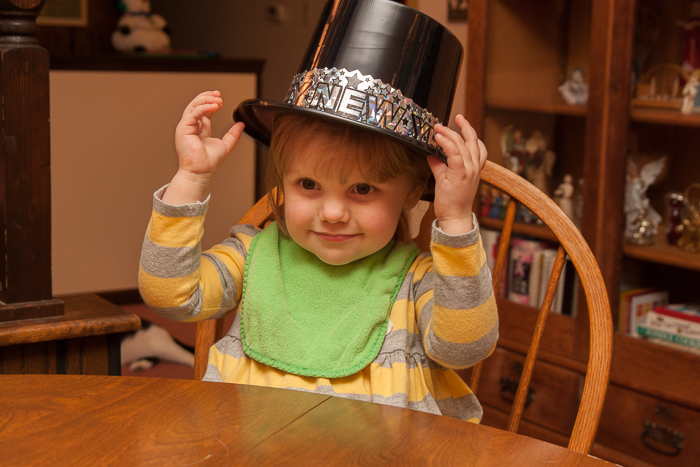 Lily with New Years hat on