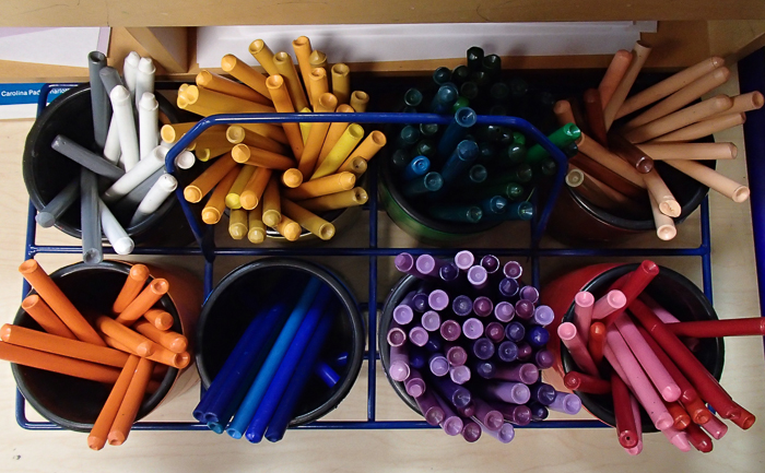 Crayons awaiting orders in Nate's 1st Grade classroom as seen on Open House night.