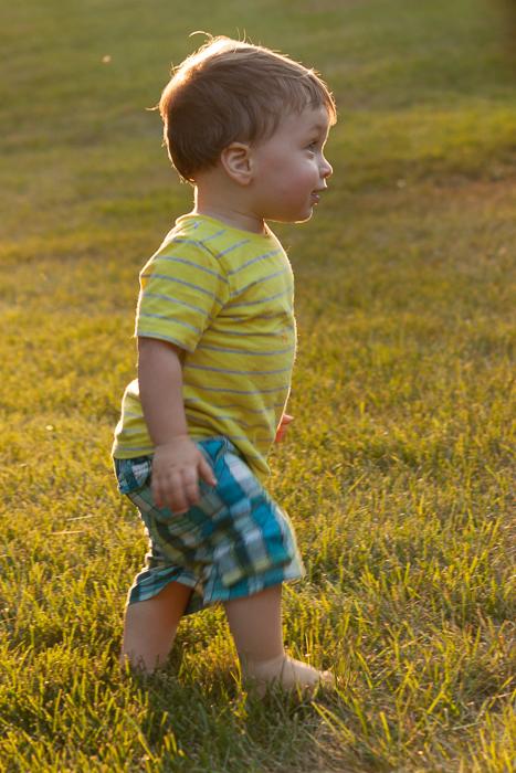 Nephew Joseph in the setting sun.