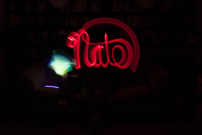 When we had a power outage in November, we broke out the glowsticks and had some fun.  Heather wrote this backwards (of course).