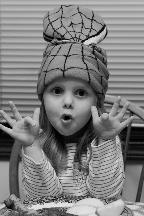 Lily being silly wearing a Spiderman winter mask in order to keep her static hair in check
