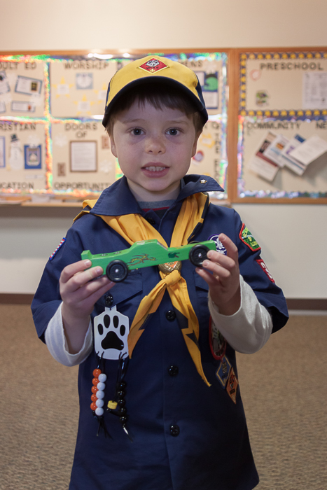 Nate with his Pinewood Derby Car the day of the race.