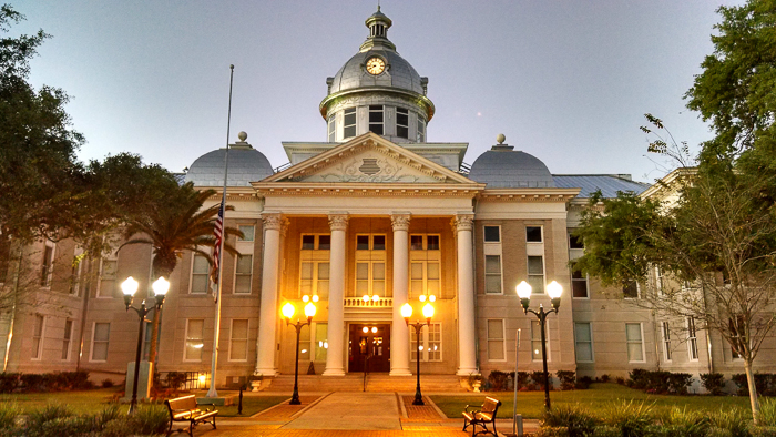 Old Polk County Courthouse in Bartow Florida in twilight