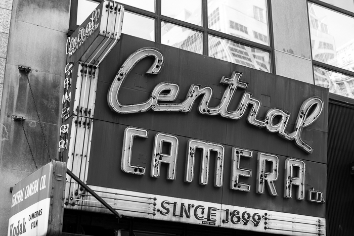 Central Camera's sign speaks of a different time.  The store is a treasure in the Loop.