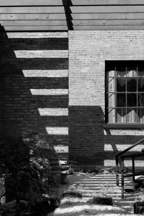 Shadows through beams of wood in Chicago's South Loop