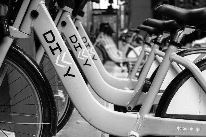 Divvy bikes at Federal Plaza, Chicago