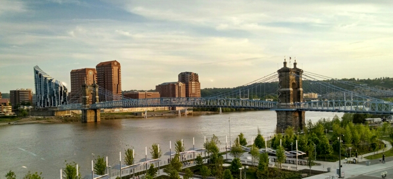 Ohio River and the John A. Roebling Suspension Bridge from Cincinnati