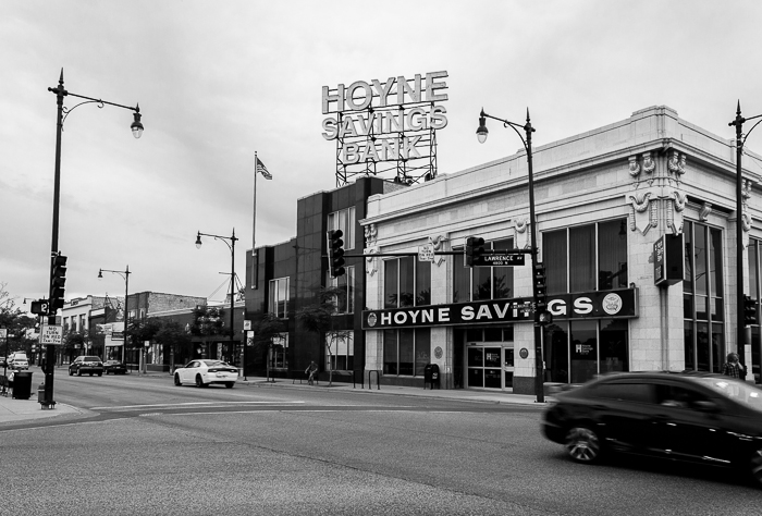 I've been looking at the Hoyne Savings Bank sign from afar while riding the UP-Northwest Line Metra trains for almost 15 years now, and this is the first time I've been up-close on street level.
