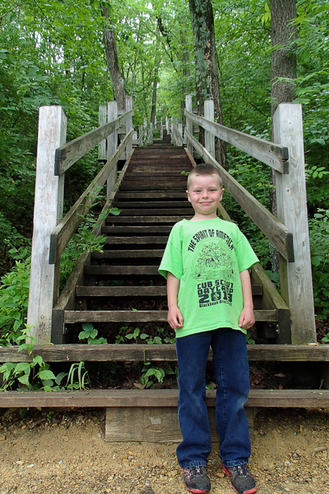 Nate and I walked down many, many, stairs at Lowden State Park in Oregon, IL.  Then we walked back up.