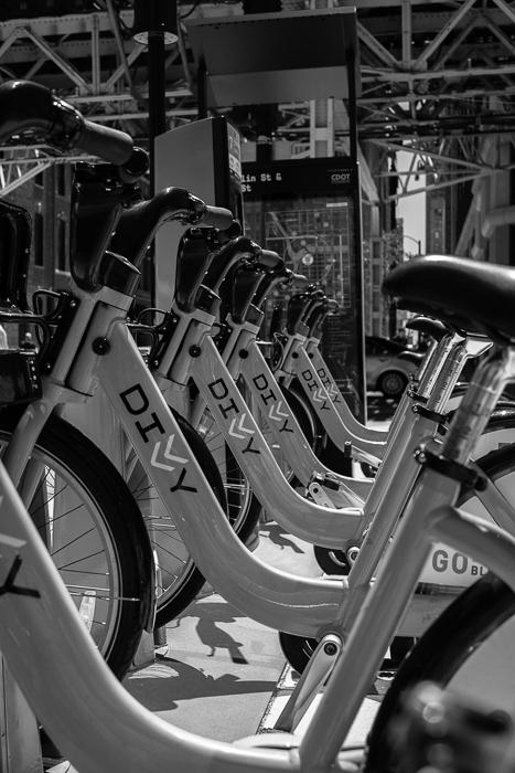 Divvy bike station, Franklin St. & Lake St. Chicago.