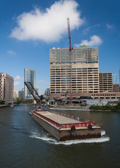 Empty Barge off Wolf Point, on the Chicago River, Chicago