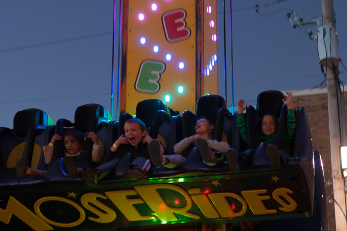 """Nate, 2nd from right, having a /blast/ on the """"Free Fall"""" ride at Sycamore's Pumpkin Festival, Sycamore, IL."""