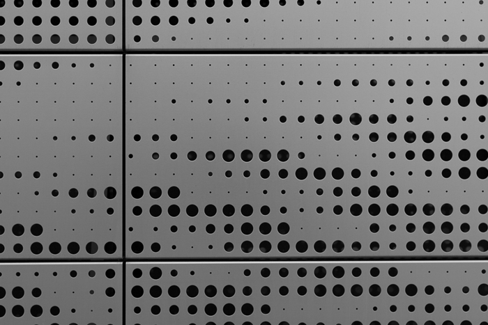 Patterns on a metal decorative structure on a building in Chicago's West Loop