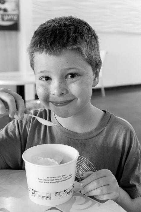 Nate at a Yumz frozen yogurt.